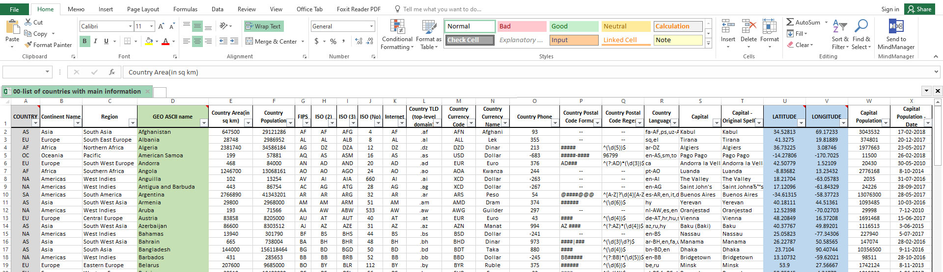 World cities Latitude and Longitude in Excel